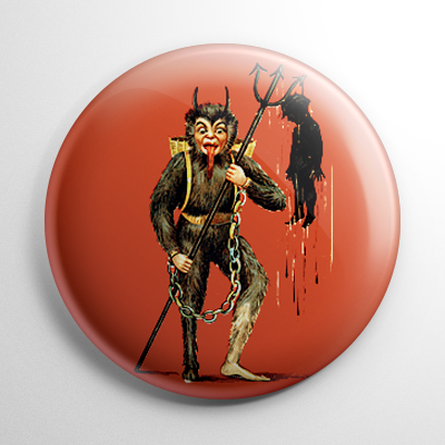 Krampus with Child on a Trident Button