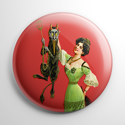 Krampus Held Up by a Woman Button