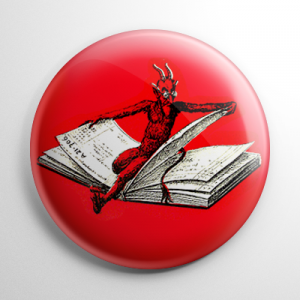 Krampus on a Book Button