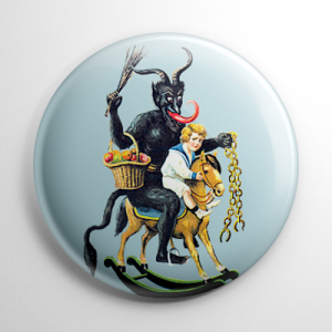 Krampus Riding a Rocking Horse Button