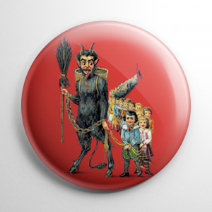 Krampus with Line of Kids Button