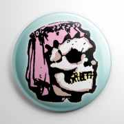 Vintage Halloween Mask Bridal Skull (Color) Button