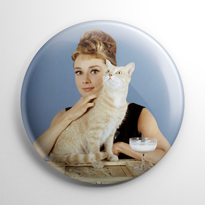 Breakfast at Tiffany's Audrey Hepburn and Cat Button