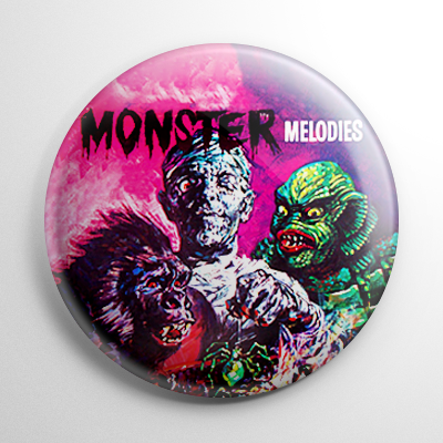 Vintage Halloween Record - Monster Melodies Button