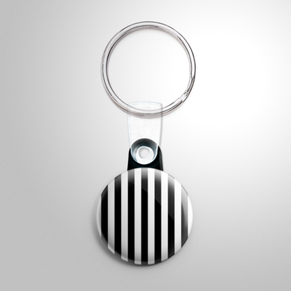 Novelty - Black and White Stripes Keychain