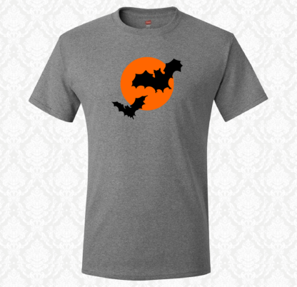 T Shirt - Halloween Bats Over The Moon